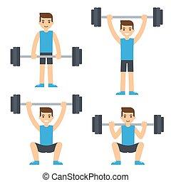 Man lifting barbell - Cartoon man barbell exercises: squat,...