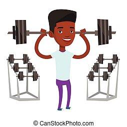 Man lifting barbell vector illustration.