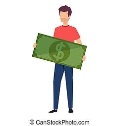 man lifting bill money dollar character