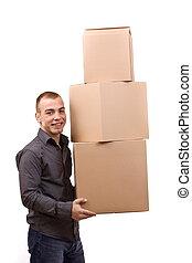 Man lifting cardboard