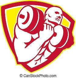 Man Lifting Dumbbell Shield Retro - Illustration of a man...