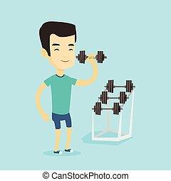 Man lifting dumbbell vector illustration.