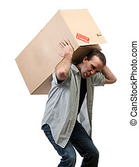 A young man lifting a larg heavy box, isolated against a white background