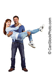 Man lifting up his girlfriend