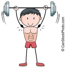 Man lifting weight alone illustration