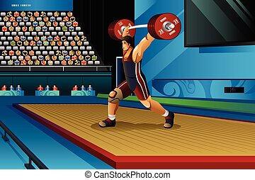 Man Lifting Weight in the Competition - A vector...