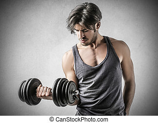 Man lifting weight inside