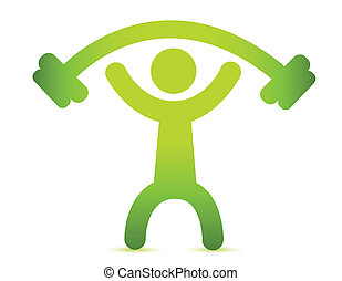 Man lifting weight isolated over white