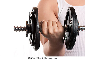 Man Lifting Weights - A young man lifting a dumbbell...