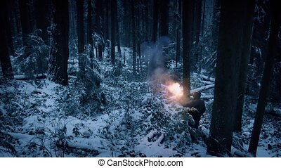 Man Lights Flare And Walks Through Snowy Forest
