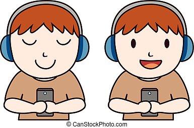 Man listen music with headset