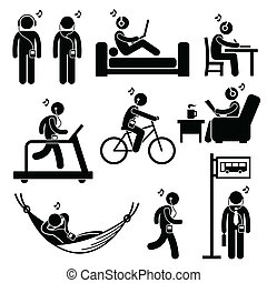 Man Listening to Music Clipart - A set of human pictogram...