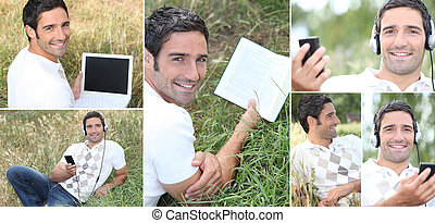 Man listening to music outdoors via laptop