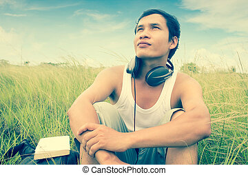 Man Listening To Music,Dramatic Look