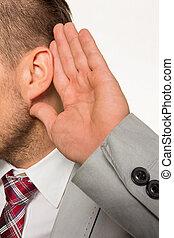 man listening to