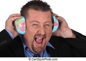 Man listening to the world