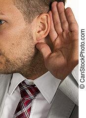 man listens