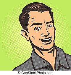 Man listens pop art style vector illustration