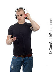 man listens to music