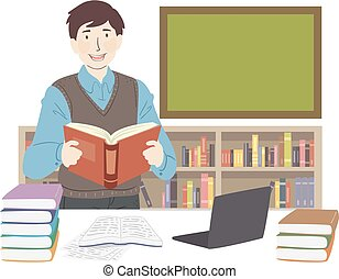 Man Literature Teacher Illustration