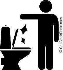 Man littering in toilet sign