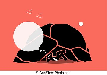 Vector artwork depicts a businessman staying and living under a rock while thinking. Concept of ignorant, isolation, idiot, oblivious, unaware, and foolish.