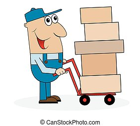 man loader with boxes