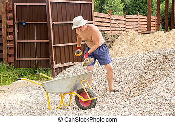 man loading gravel into wheelbarrow with a shovel