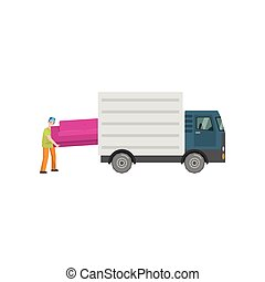 Man loads a big pink sofa in the trunk of a truck, isolated on a white
