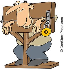 Man Locked In A Pillory - This illustration depicts a man...