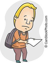 Man Look Paper Sad - Illustration of a Man Looking Sad While...