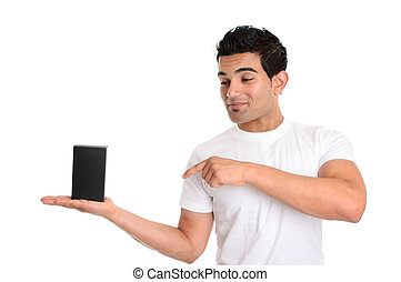A guy holds a product in the palm of his hand. He is looking directly at your product and pointing to it with his other hand.