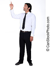 Man looking and pointing upwards