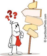 Man looking at a signpost