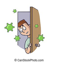 Man looking at flying green viruses in fear from the doorway. Dangerous coronavirus outbreak, world quarantine, covid-19 spread. Vector flat illustration, isolated on white background.