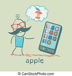 man looking at mobile and thinks the apple