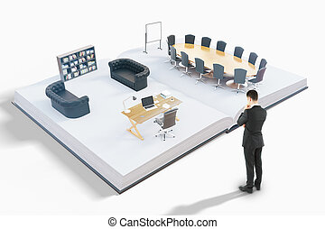 Man looking at office
