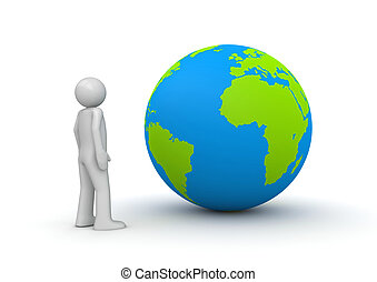 Man looking at planet Earth / globe (3d isolated characters on w