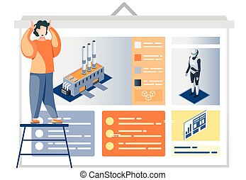 Man looking at presentation poster with description of Industry automation factory robot-driven