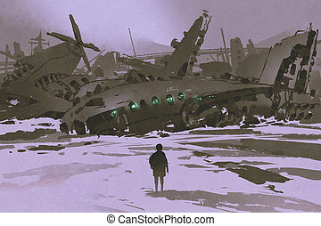 man looking at remains of destroyed planes in snow, digital...