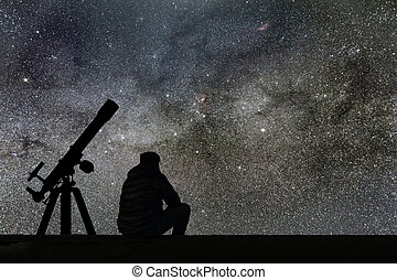 Man looking at the stars, astronomy telescope. Milky Way...