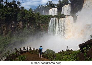 man looking at the waterfalls