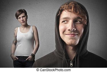 Man looking at woman