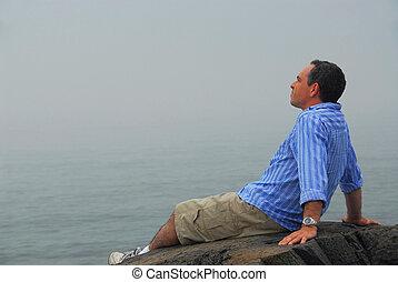 Man looking fog