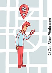 Man looking for a location on his cell phone or gps