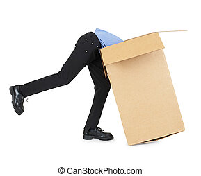 Man looking for his things in a big cardboard box