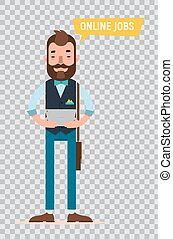 Man looking for job through online service. Flat characters on transparent background.