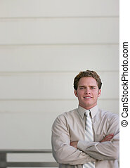 man looking forward - business man against wall with...
