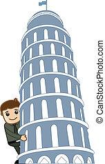 Man Looking from Behind Pisa Tower