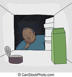 Worried Black man looking at food in open refrigerator